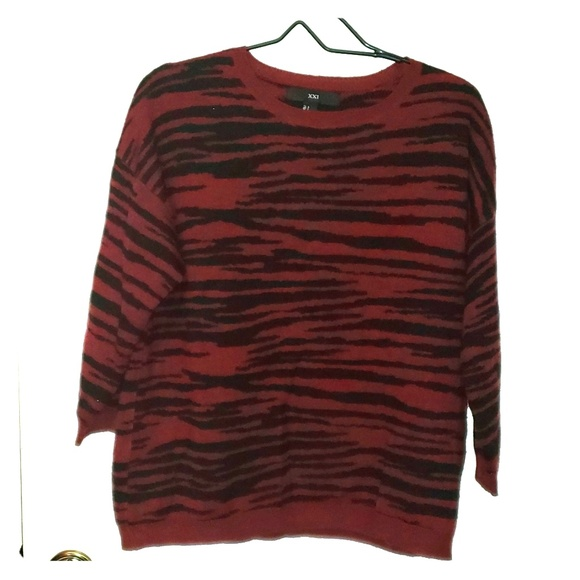 Forever 21 Sweaters - Burgundy Black Tiger Stripes Sweater